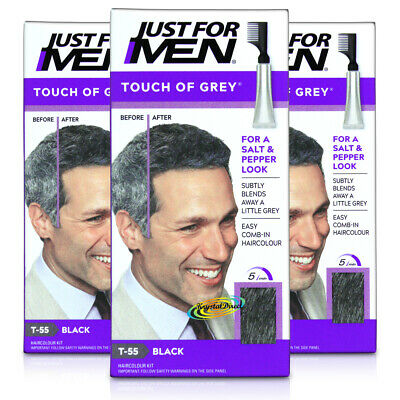 3x Just for Men Touch of Grey T55 BLACK - Grey 40g