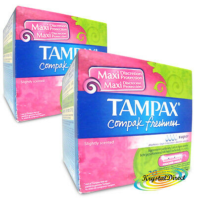 2x Tampax Compak Freshness Super 20 Tampons With Applicator