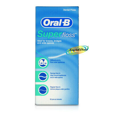 Oral B Superfloss Super Dental Floss Braces Bridges 50 Pre-cut strands