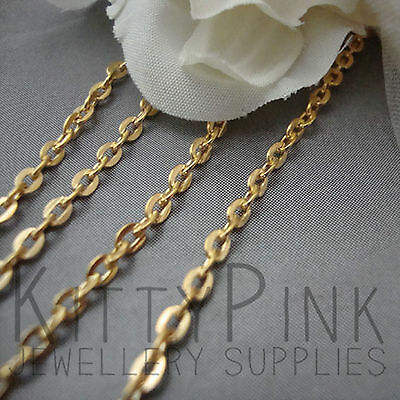 2 Metres Gold Plated Chain Flat 3 x 2.5mm NICKEL FREE