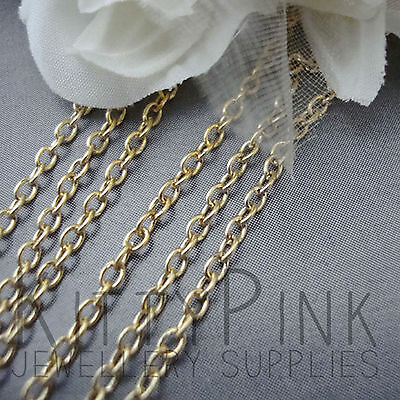 2 Metres Gold Plated Chain 3 x 2mm NICKEL FREE Necklace
