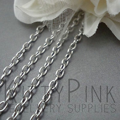 2 Metres Silver Tone Chain 4 x 3mm Necklace