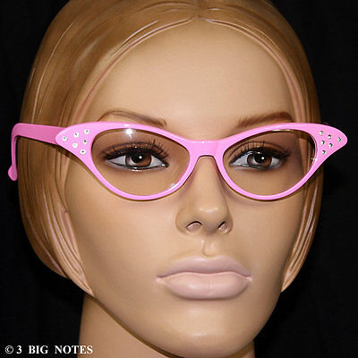 PINK 50s Retro Cat-Eye Glasses for Poodle Skirt