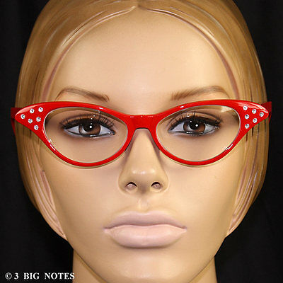 RED 50s Retro Cat-Eye Glasses for Poodle Skirt