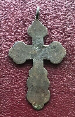 Authentic Antique 18th-19th Century Russian Orthodox Bronze Cross   U5-9