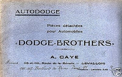 Catalogue Dodge Brothers Auto Piece Detachee