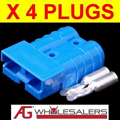 4x BLUE ANDERSON STYLE PLUG CONNECTOR AUTO WIRE  50 AMP 50a