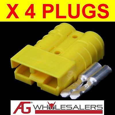 4x YELLOW ANDERSON STYLE PLUG CONNECTOR WIRE  50 AMP 50a