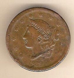 Usa 1839 Large Cent - Major Planchet Flaw