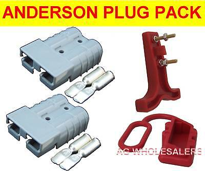 ANDERSON STYLE 50 AMP PLUG T HANDLE DUST CAP SET 12V 50a