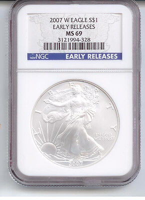 2007-W CERTIFIED EARLY RELEASE SILVER EAGLE NGC MS 69     #zf