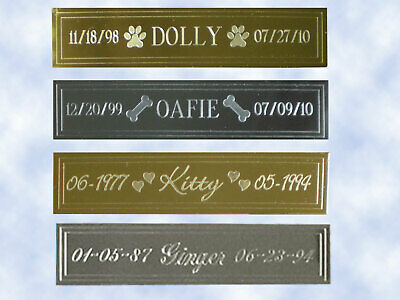 "Engraved Brass Name Plate Pet Memorial - 5/8""H x 2-5/8""L - Choice of Designs"