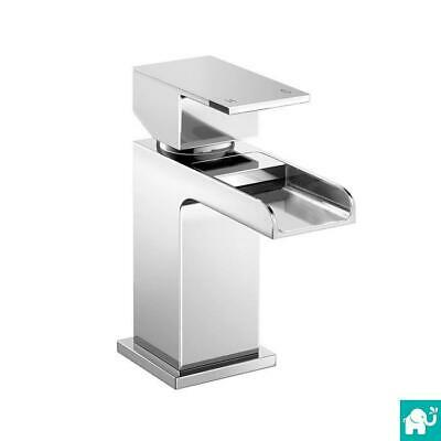 Waterfall Bathroom Taps Modern Chrome Basin Sink Mono Mixer Tap with Free Waste