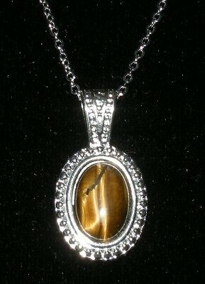 Tiger's Eye Cabochon Necklace With Silver Plated Chain