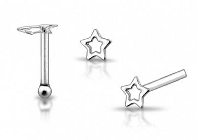 1 22g 6mm Sterling Silver Star Pentagram New Painted Nose Stud Ring Pin Bar N122