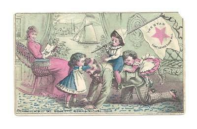 Domestic Sewing Machine Trade Card Children Riding Dad