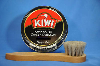Kiwi Shoe, Boot Polish Paste Large w/Horsehair Applicator! 6 COLORS, NEW! 2.5 oz