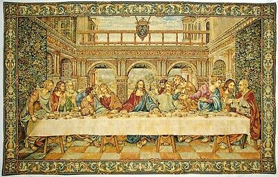 "43"" X 26"" Da Vinci Last Supper Tapestry Wall Hanging, Fully Lined + Rod Sleeve"