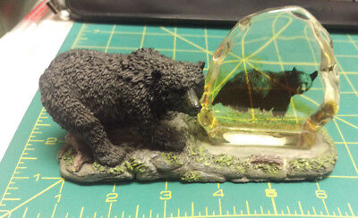 Black Bear Artwork Resin with Glass , very pretty!