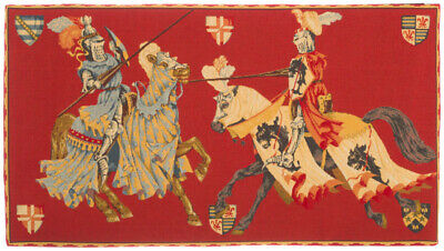 """32"""" X 18"""" Medieval Joust/Tournament Belgian Tapestry Wall Hanging, Fully Lined"""