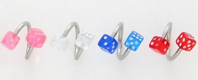 10 14g Spiral Twister Dice Belly Rings Wholesale Lot