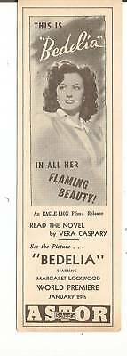 Bedelia Movie - Shads Astor Theater Bookmark 1946