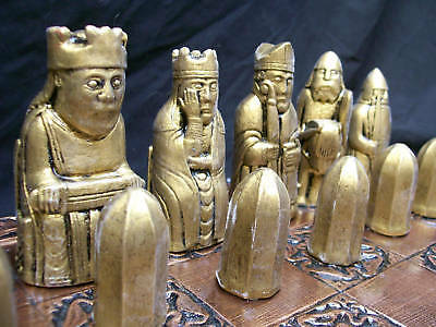 Isle of Lewis Chess set- gold/grey  antique effect