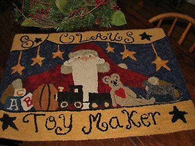 "Primitive Rug Hooking Pattern On Monks ~ ""s. Claus Toymaker"""