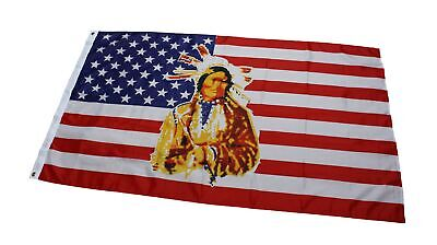 Flagge Fahne USA mit Indianer 150x90cm