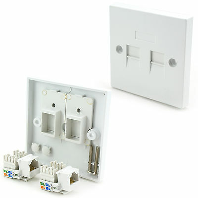 Double CAT5e Wall Outlet Face Plate-RJ45 Network Socket