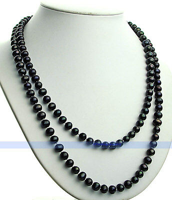 "LONG 50"" 7mm Genuine Freshwater Black Pearl Necklace 