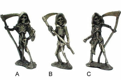 2 PEWTER GRIM REAPER SKELETON BONE FIGURES  NEW ITEM