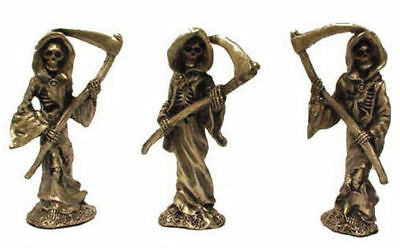 2 PEWTER GRIM REAPER SKELETON CAPE FIGURES  NEW ITEM