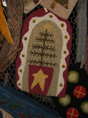 """Primitive Hooked Rug Pattern On Monks """"O'feather Tree"""""""