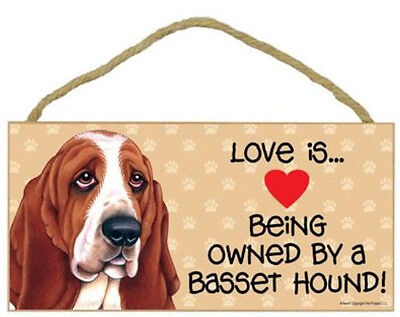 Love Being Owned Basset Hound  Wood Sign Plaque
