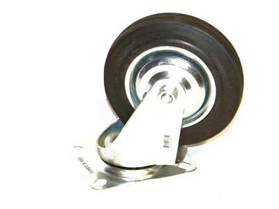 """4 Pc 5"""" Swivel Caster Wheels  Top Base And Wheel With Bearings Rubber Tire Set"""