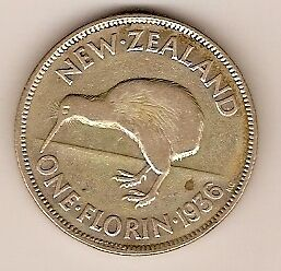 New Zealand Silver Florin Two Shilling  - 1936