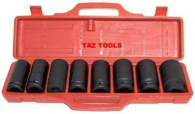 "9 Pc 3/4"" Drive Deep Air Impact Socket Set Metric Axle Nut Sockets 6 Points Tool"