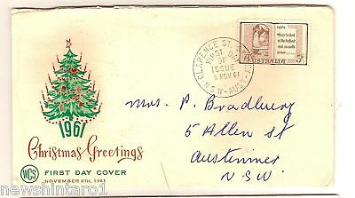 Wcs First Day Cover - Christmas 1961, Clarence St