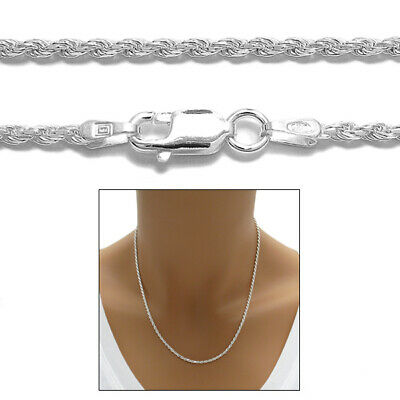925 Sterling Silver Dia Cut Rope Chain Necklace 2mm (040 Gauge)