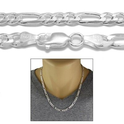 925 Sterling Silver Solid Figaro Link Chain Necklace 6mm (150 Gauge)