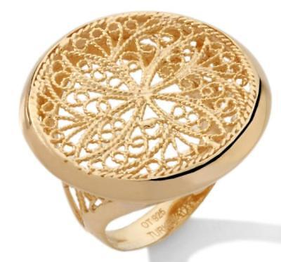 Technibond Round Filigree Ring 14K Yellow Gold Clad Sterling Silver 925 HSN