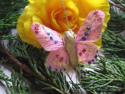 Feather Butterflies Small Pink with Glitter - Pack 12