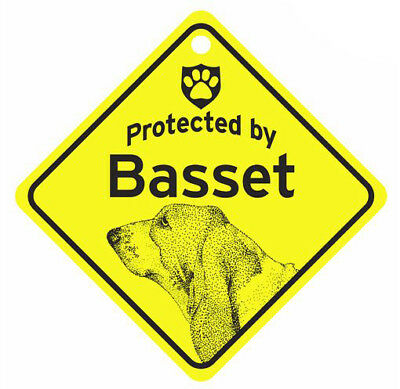 Protected by Basset Hound  Dog Car Window Sign