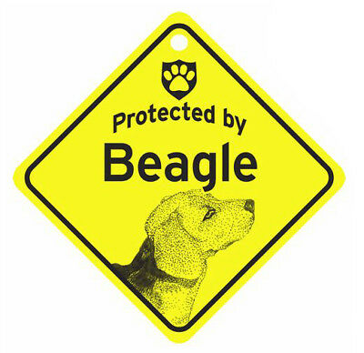 Protected by Beagle Dog Car Window Sign