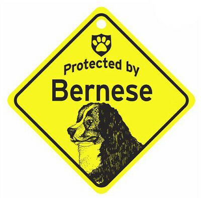 Protected by Bernese Mountain  Dog Car Window Sign