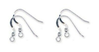 24 Solid Sterling SILVER 925 Ear Wires FRENCH HOOKS w/ Bead Ball + Coil EarWires