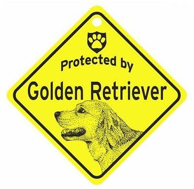 Protected by  Golden Retriever  Dog Car Window Sign