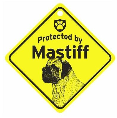 Protected by Mastiff  Dog Car Window Sign