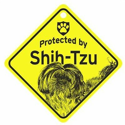 Protected by Shih Tzu  Dog Car Window Sign